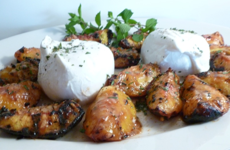 Barrata with Grilled Peaches